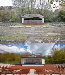 Bandstand before and after