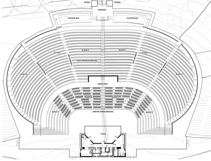 Plan With Elevation And Section : Plans kelvingrove bandstand and amphitheatre